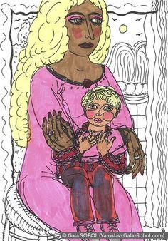 GALA SOBOL Mother and child. Italy. 2004. 14,6x10,3 (5 3/4 x 4 1/16 in) // Мати і дитинча. Італія. 2004. Мішана техніка. 14,6x10,3