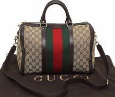 Gucci Vintage Web Original GG Canvas Boston Bag Classic Brand PERFECT Authentic #Gucci #TotesShoppers