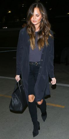 Chrissy Teigen Makes the Case for Monochromatic Airport Style While Jetting to N.Y.C. from InStyle.com