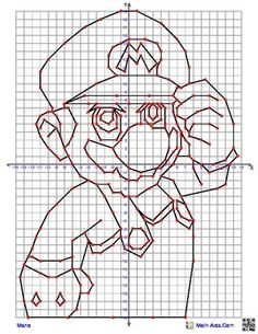 Mario Coordinate Graphing quadrant graphing picture from… Graph Paper Drawings, Graph Paper Art, Tessellation Patterns, Blackwork Cross Stitch, Graphing Worksheets, Geometric Drawing, Math Concepts, Math Facts, Zentangle