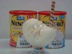 1 lata de leite condensado  - 1 caixinha de creme de leite  - ½ envelope de gelatina sem sabor(uso o dobro)  - 1 copo (tipo requeijão) de água  - 4 colheres (sopa) cheias de leite ninho