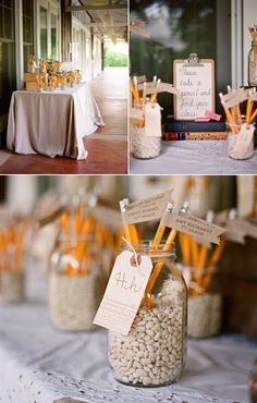 "pencil seating cards and ""grade"" table numbers"