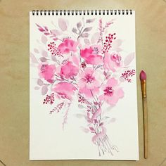 Watercolor painting on loose florals