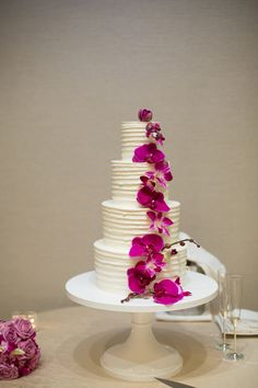 Elegant 4 tier radiant orchid wedding cake (Shay and Olive)