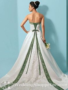 I have loved this dress for as long as I have looked at wedding dresses. The only thing I would change is the green would be royal blue.