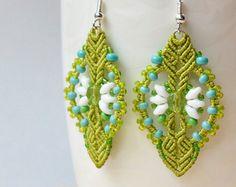 Bohemian macrame earrings dangle earrings boho by MartaJewelry