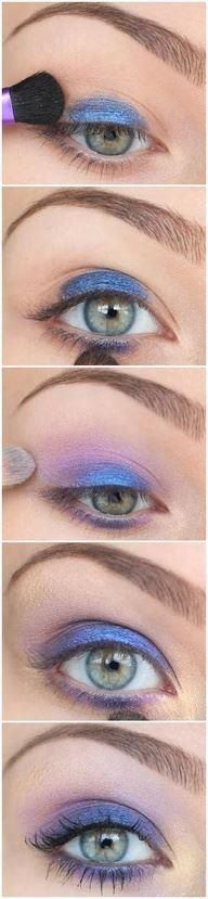 Blue and lavender eyeshadow tutorial. Make up, green eyes, lashes.