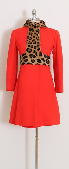 ➳ vintage 1960s dress & jacket * red flat wool blend * acetate lining * leopard print pony hair trim * pockets in both pieces * zipper back dress * stunning set!! condition   excellent fits like xs/s dress length 35 bust 36 waist 32 hips 36 jacket length 36 shoulders 16 sleeves 21 bust 36-38 waist 34 hips 42 ➳ shop http://www.etsy.com/shop/millstreetvintage?ref=si_shop ➳ shop policies http://www.etsy.com/shop/millstreetvintage/...