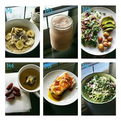 Here's my meals! Super hungry today. M1 ○ oatmeal, banana, chia seed & coffee. M2 ○ post workout shake. Quest strawberry protein powder, frozen mango, pineapple & strawberries with water. M3 ○ salad, turkey burger, avocado & potatoes. M4 ○ dates and tea. I had more dates than this . M5 ○ eggs, avocado, toast with feta & hot sauce. M6 ○ salad & tea.