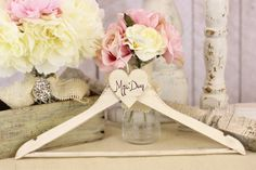 Personalized Wedding Hanger Shabby Chic Hand by braggingbags, $26.50