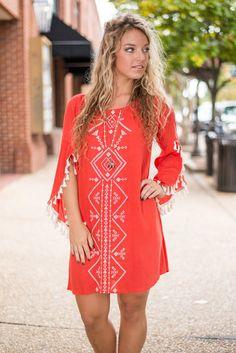 Bold Reflection Dress, Rust