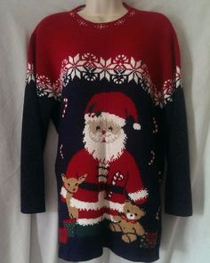 9e73dc62e Details about Vtg Ugly Christmas Sweater Santa Private Eyes Holiday USA  Medium Snow Flakes