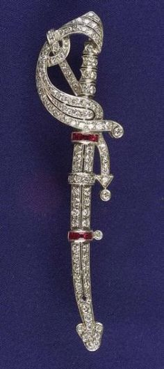 Art Deco Platinum, Ruby and Diamond Brooch