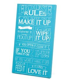 Take a look at this Blue 'House Rules' Wall Art on zulily today!