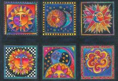 Celestial Dreams Panel Sun Moon Star Bright fabric by Laurel Burch