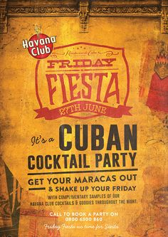 Cuban Cocktail Party Poster, Retro Graphic Design by www.diagramdesign.co.uk