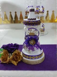 Baby Shower Centerpiece For Royal Purple Baby Shower / Royal Purple U0026 Gold  Baby Centerpiece/ Prince/ Baby Shower Themes And Decorations
