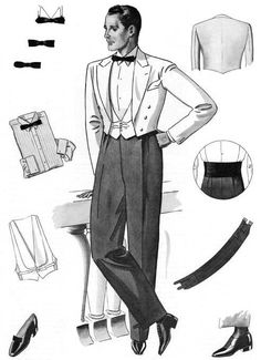 White mess jacket 1933 .  A mess jacket is a type of formal jacket that ends at the waist and typically has a non fastening double breast cut or a single version that fastens.