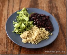 black beans, broccoli, and rice - a healthy, delicious, kid-friendly dinner. What are your favorite healthy, kid-friendly meals?