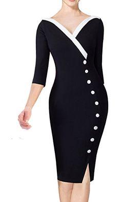 HOMEYEE Women's Chic Wear to Work V-Neck Bodycon Casusl Party Dress B335