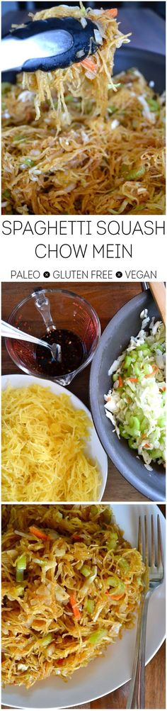 Spaghetti Squash Chow Mein - paleo, gluten-free, vegan, easy and delicious!