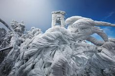Picture of windswept ice formations on Mount Javornik in Slovenia
