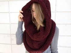 This chunky burgundy infinity scarf is a must have this winter.....love it