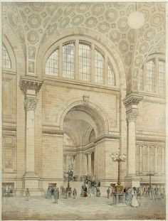 Pennsylvania Station Interior, 1906, presentation drawing by Jules Crow; McKim, Mead and White Architectural Record Collection, PR 042.  NYHS Image #80482d.