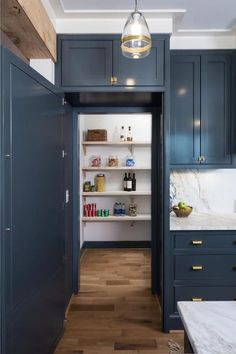 Trendy kitchen pantry cabinet ideas walk in Hague Blue Kitchen, Blue Kitchen Cabinets, Kitchen Doors, Pantry Doors, Pantry Cabinets, Hidden Cabinet, Hidden Pantry, Walk In Pantry, Farrow And Ball Kitchen