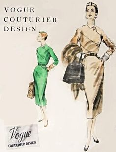 Elegant 1950s Vogue Slim Dress Pattern Vogue Couturier Design 809 Vintage Sewing Pattern Shaped Lap Seam Interest On Bodice Bust 38 FACTORY FOLDED