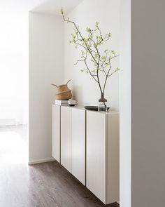 Ivar Cabinet styled in beige Interior Design Inspiration, Home Interior Design, Room Inspiration, Minimalist Interior, Minimalist Home, Home And Living, Room Decor, Ikea, House Design