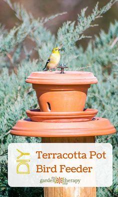 Put Backyard Birds on a Pedestal with this Flower Pot Bird Feeder