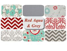 Chic designs in red, aqua, and grey! Aqua Red Grey Pillow Covers  20 x 20 Mix & Match by PillowStyles, $38.00 Come check out the new shop!!