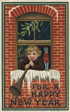 Happy New Year postcard, 1909