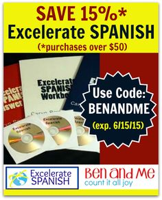 LAST DAY!! Excelerate Spanish Review -- save 15% with code: BENANDME
