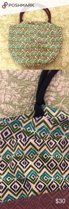 NWOT beach tote Aztec print w/ rope handles This super stylish bucket tote bag was given to me when I️ was in my cousins wedding. (It was filled with lots of goodies that made her think of us). It's 100%cotton with rope braided handles. It has an Aztec print in different shades of blue and green. It never officially was used. I️ have too many bags (totes, beach bags, grocery bags, etc. )so this one deserves a good home. Very sturdy and well made! rock flower paper Bags Shoulder Bags