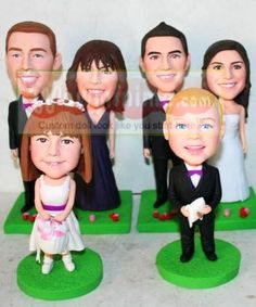 WowMiniMe.com 100% handmade custom wedding cake toppers look like you from photo-- Bridesmaid- Flower girls -Ring bearer -