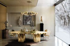 The Fortuna Dining Table is a shimmering statement piece that unites Boca do Lobo's one of a kind design aesthetic and passion for Gold. www.bocadolobo.com