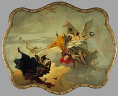 """Giovanni Battista Tiepolo """"The Triumph of Virtue and Nobility Over Ignorance"""" 1740. Oil on canvas, painted for the Palazzo Manin, Venice. Museum, Pasadena"""