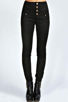 Sandra Highwaisted Coloured Skinny Jean at boohoo.com