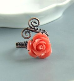 Hey, I found this really awesome Etsy listing at https://www.etsy.com/listing/170959679/coral-red-ring-rose-copper-ring-antiqued