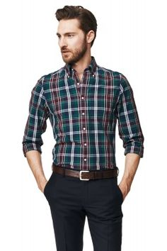 Yale Archive Madras Fitted Button Down Shirt Cool Shirts, Casual Shirts, Casual Outfits, Sweater Outfits, Shirt Outfit, Formal Men Outfit, Moda Casual, Flannels, Lakme Fashion Week