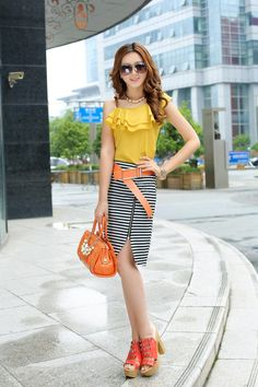 Yellow Asymmetric Top Black Skirt Sexy Slit Asian Fashion Dress