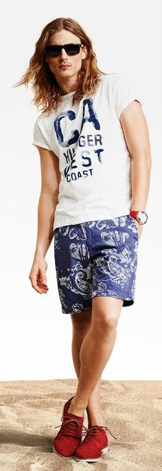 Red Suede Derby Shoes styled with White and Navy Print T-shirt and Navy Shorts