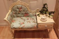 upholstered regency style Telephone table by TBThoroughThreads. I am so in love with this telephone table!!! LOVE