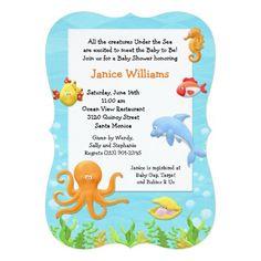Baby Shower Invitations, Birthday Invitations, Ocean View Restaurant, Ocean Baby Showers, Virtual Baby Shower, Baby Gap, Under The Sea, Underwater, Shower Ideas
