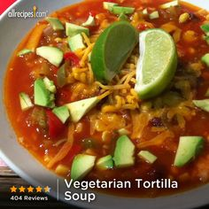 Factors You Need To Give Thought To When Selecting A Saucepan Previous Pinner Wrote, Vegetarian Tortilla Soup My Whole Family Loved This Yum Changes Made: Added Black Beans For Protein. Make This Recipe Vegan By Leaving Off The Cheese. Vegetarian Tortilla Soup, Going Vegetarian, Vegetarian Breakfast, Vegetarian Dinners, Vegetarian Recipes, Vegetarian Sandwiches, Healthy Recipes, Vegetarian Mexican, Vegetarian Cooking