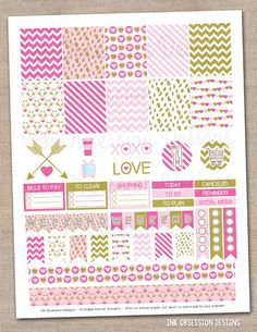 Pink and Gold Valentines Day Printable Planner Stickers PDF Instant Download Weekly Graphics Kit