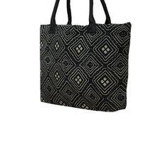 Black Hand Stitch Kantha Work Tote Bag Ethnic by MyCraftPalace