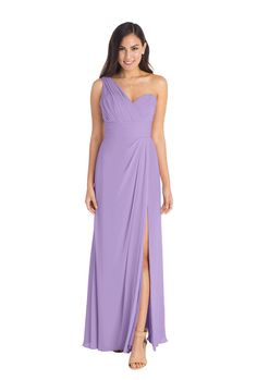 Watters 'Tulip Dress' in Lavender. This purple gorgeous chiffon bridesmaid gown has a sweetheart neckline and a sheer one shoulder strap, flattering waistband and open side slit for effortless movement.